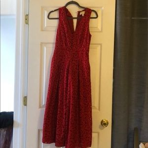 Anthropologie Lace Red Romper